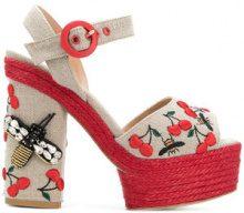 Castañer - embellished bee platforms - women - Cotton/Leather/rubber - 36, 39, 37, 40 - NUDE & NEUTRALS