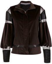 Gloria Coelho - puff sleeves velvet jacket - women - Cotton/Spandex/Elastane/Acetate - 40 - BROWN