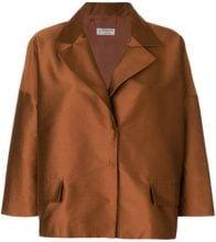 Alberto Biani - Blazer squadrato - women - Cotton/Polyamide/Polyester - 42, 44, 46, 40 - BROWN