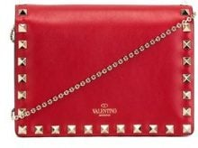 Valentino - Clutch 'Rockstud' - women - Calf Leather/Metal (Other) - OS - RED