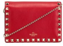 Valentino - Clutch 'Rockstud' - women - Calf Leather/Metal (Other) - One Size - RED
