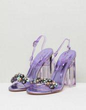 QUPID - Sandali decorati con tacco trasparente - Viola