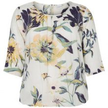 JUNAROSE Flowerprinted 3/4 Sleeved Blouse Women White