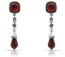 Cristalina - Orecchini a pendente, placcati al rodio, lunghezza 48 mm, con cristallo, colore: Rosso
