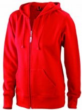 James & Nicholson Sweatjacke Hooded, Felpa Donna, Rosso (red), Medium (Taglia Produttore: Medium)