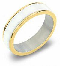 Boccia 0132-03 - Anello unisex in titanio e ceramica, titanio, 59 (18.8), colore: Oro/bianco, cod. 0132-0359