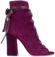 Gianvito Rossi - Sandali stringati con tacco largo alto - women - Suede/Leather - 37, 38, 39, 39.5 - PINK & PURPLE