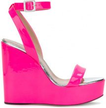 Giuseppe Zanotti Design - Sandali con zeppa - women - Leather/Patent Leather - 37.5, 38, 38.5, 39 - PINK & PURPLE