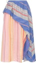 A Peace Treaty - Tarouba stripe high waist silk cotton-blend skirt - women - Cotton/Silk - S, M, L - PINK & PURPLE