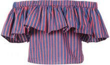 La Doublej - striped off the shoulder ruffle top - women - Cotton - XS, S, M, L - BLUE