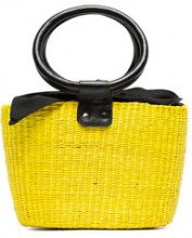 Sensi Studio - yellow and black basket mini straw bag - women - Cotton/Leather/Straw - OS - YELLOW & ORANGE