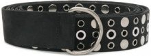 Pinko - stud and eyelet detailed belt - women - Suede - OS - BLACK