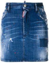 Dsquared2 - distressed mini skirt - women - Cotone/Spandex/Elastane/Leather/Polyester - 36, 38, 40, 42 - Blu