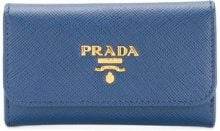 Prada - logo plaque key case - women - Calf Leather - OS - BLUE