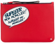 Moncler - Clutch 'Comic' - women - Leather - OS - RED