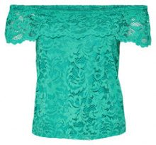 ONLY Lace Off Shoulder Short Sleeved Top Women Green
