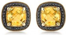 Carissima Gold - Orecchini a Lobo da Donna in Oro Giallo 9K (375) con Diamante (0.036 K) e Quarzo Citrino