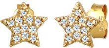 Diamore Orecchini a Perno da Donna Oro Giallo 14K con Diamante Bianco 0.22ct, Taglio Rotondo