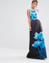 Ted Baker - Narisa Beauty - Vestito lungo a colonna con stampa blu