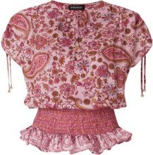 Twin-Set - Blusa con stampa paisley - women - Cotone/Metallic Fibre - 44, 48 - RED