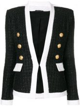 Balmain - double breasted fitted jacket - women - Cotton/Linen/Flax/Acrylic/Metallized Polyester - 38, 36, 42, 40, 34 - BLACK