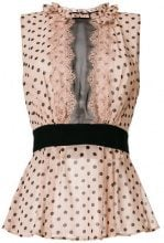 Elisabetta Franchi - polka dot flared top - women - Polyester/Viscose/Silk - 40 - NUDE & NEUTRALS
