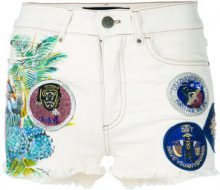 Mr & Mrs Italy - Shorts denim con applicazioni - women - Cotton/Spandex/Elastane - 38, 40, 42, 36 - WHITE