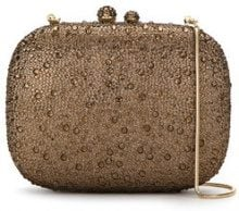 Isla - embellished clutch - women - Glass Fiber/Polyester - OS - BROWN