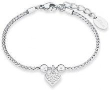 S. Oliver Braccialetto da donna con ciondolo a forma di cuore in acciaio inox con zirconi bianchi, 20 cm - 567220