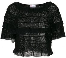 Red Valentino - tiered frill knit top - women - Cotton/Viscose - M - BLACK