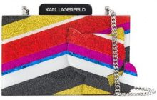 Karl Lagerfeld - K Stripes Choupette clutch - women - Acrylic - One Size - MULTICOLOUR
