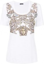 Versace - T-shirt con ricamo 'Medusa' - women - Spandex/Elastane/Viscose - 36, 38, 42 - WHITE