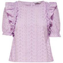 ONLY Frill Short Sleeved Top Women Purple