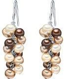 Valero Pearls Orechinni pendenti da Donna in Argento Sterling 925 con rodio con Perle coltivate d'acqua dolce champagne marrone oro cioccolita 60200134