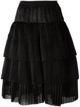 Sara Lanzi - A-line tiered skirt - women - Silk - OS - BLACK