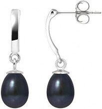 Pearls Colors &-Orecchini pendenti, in oro bianco 9 kt, con perla d'acqua dolce, AM-9BOC 136 P6B-BL