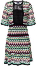 M Missoni - mesh panel zigzag dress - women - Cotton/Linen/Flax/Polyamide/Polyester - 38, 40 - MULTICOLOUR