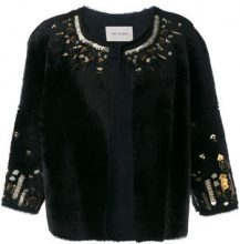 Yves Salomon - bordered jacket - women - Sheep Skin/Shearling - 40 - BLACK
