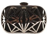 Tina Women's Perforated Crystal Studded Chain Strap Wedding Evening Clutch Bag
