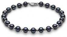 Kimura Pearls Donna 9 carati oro bianco Rotonda Semisferica perla cinesa da coltivazione nero Perla FINENECKLACEBRACELETANKLET