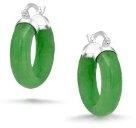 Bling Jewelry Gemma verde giada Orecchini a cerchio 925 Snap indietro