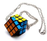 Cubo di Rubik collana lunghezza circa 70 cm ciondolo nerd party anni '80 e '90