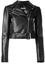 Givenchy - cropped biker jacket - women - Lamb Skin/Acetate/Viscose - 38, 40 - BLACK