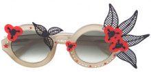 Linda Farrow - occhiali da sole con motivo floreale - women - Acetate/stainless steel - OS - GREEN