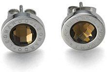 Leonardo Jewels 013257 - Orecchini a lobo da donna, acciaio inossidabile e vetro