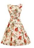 SaiDeng Donne Vintage 50s Rockabilly Swing Floreale Senza Maniche Vestito Cocktail Sera Gonna