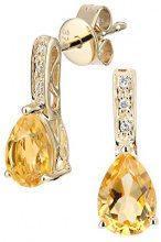 Naava Orecchini da Donna, in Oro Giallo 9K, con Quarzo Citrino, Taglio Brillante Rotondo, 1.36 ct