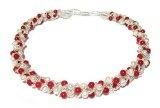 TreasureBay elegante Parure con collana, bracciale e orecchini, in corallo rosso naturale e perle d'acqua dolce coltivate, in una lussuosa scatola-regalo