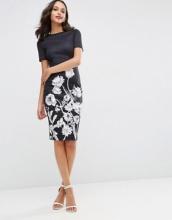 ASOS - Vestito midi fasciante a T-shirt in tessuto scuba con stampa a fiori bianchi e neri