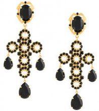Dolce & Gabbana - cross clip-on earrings - women - Crystal/Brass - OS - METALLIC